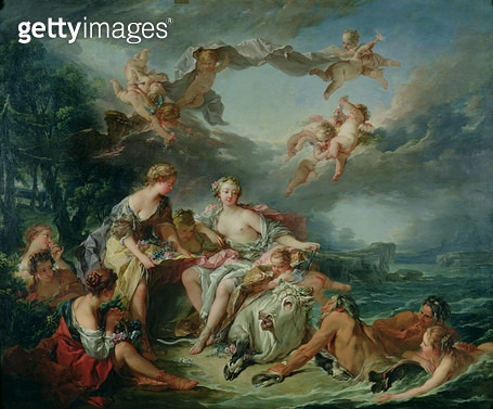 <b>Title</b> : The Rape of Europa, 1747 (oil on canvas)<br><b>Medium</b> : oil on canvas<br><b>Location</b> : Louvre, Paris, France<br> - gettyimageskorea