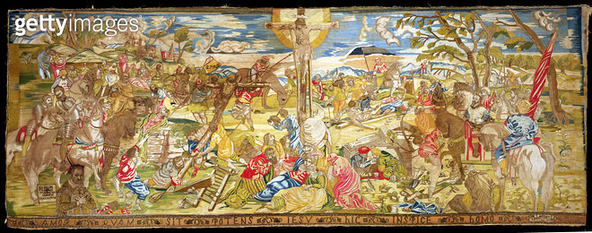 <b>Title</b> : Crucifixion, 1609 (embroidery)Additional Infoaltar frontal, possibly for Santa maria dell'Orta, Venice;<br><b>Medium</b> : <br><b>Location</b> : Private Collection<br> - gettyimageskorea