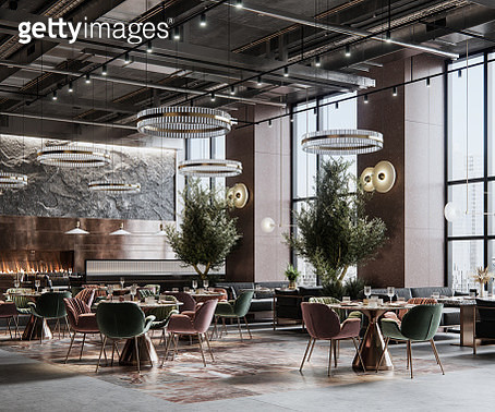 Digitally generated image of a large restaurant interior - gettyimageskorea
