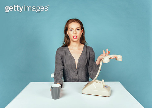 Portrait of girl on retro telephone - gettyimageskorea