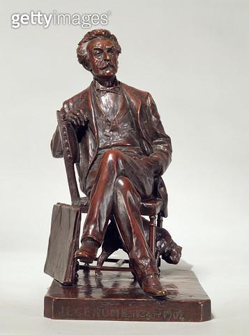 <b>Title</b> : A seated portrait of Jean Leon Gerome (1824-1904) 1904 (bronze)<br><b>Medium</b> : bronze<br><b>Location</b> : Dahesh Museum of Art, New York, USA<br> - gettyimageskorea