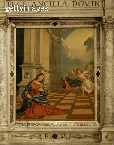 <b>Title</b> : The Malchiostro Annunciation, c.1520 (oil on panel)Additional Infoalso known as the Annunciation Chapel;<br><b>Medium</b> : oil on panel<br><b>Location</b> : Duomo, Treviso, Italy<br> - gettyimageskorea