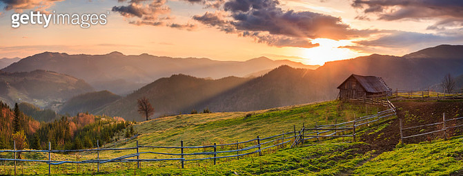Panorama of a beautiful sunrise in the mountains - gettyimageskorea