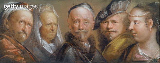 <b>Title</b> : Studies of Five Heads after Rembrandt (pastel on copper plate)<br><b>Medium</b> : pastel on copper plate<br><b>Location</b> : Yale Center for British Art, Paul Mellon Collection, USA<br> - gettyimageskorea
