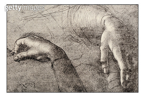 Leonardo's sketches and drawings: Hands of Mona Lisa - gettyimageskorea