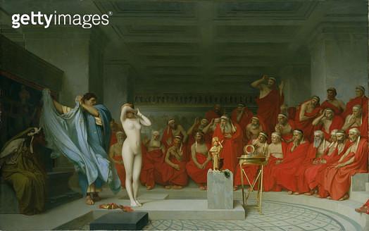 <b>Title</b> : Phryne Before the Jury, 1861 (oil on canvas)<br><b>Medium</b> : oil on canvas<br><b>Location</b> : Hamburger Kunsthalle, Hamburg, Germany<br> - gettyimageskorea