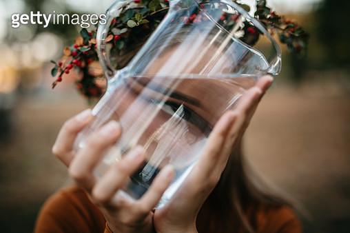 Close up portrait trough the water. - gettyimageskorea