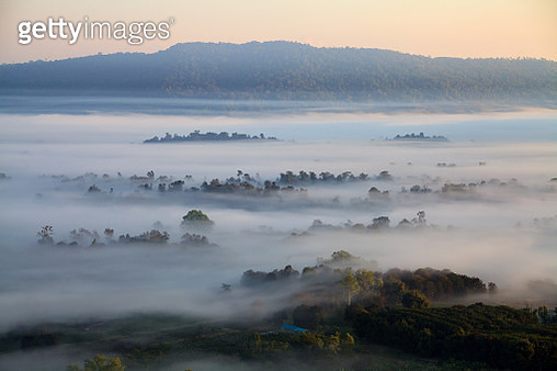 Fog In Morning Sunrise And Road At Khao Takhian Ngo View Point - gettyimageskorea