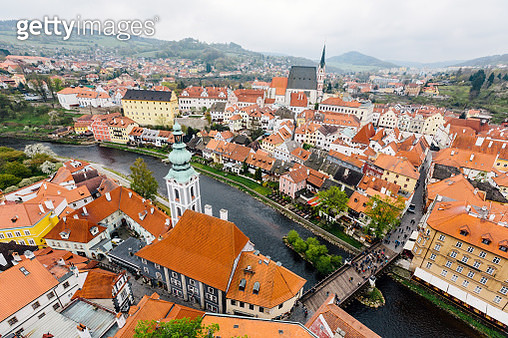 Aerial view of Cesky Krumlov cityscape, South Bohemia, Czech Republic - gettyimageskorea
