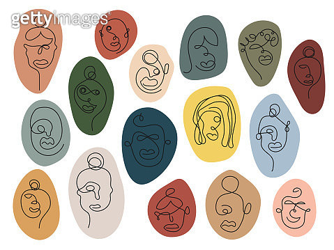 One line art faces, colorful - gettyimageskorea