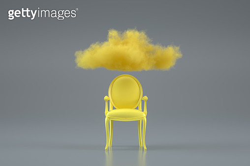 Armchair with Cloud, Brainstorming concept, gray and yellow colors - gettyimageskorea