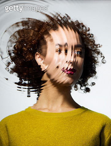 Portrait through water with ripples - gettyimageskorea