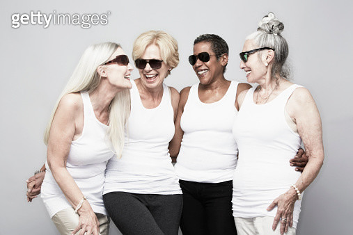 Studio portrait of senior women friends having fun - gettyimageskorea