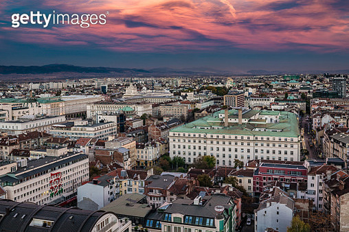 High angle aerial view above city of Sofia, Bulgaria, Eastern Europe - stock image - gettyimageskorea