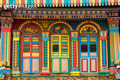 Colorful facade of building in Little India, Singapore - gettyimageskorea