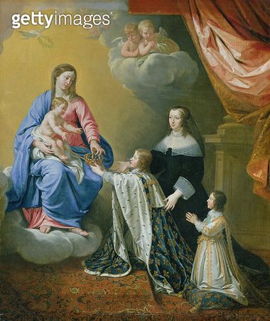 <b>Title</b> : The Virgin Mary gives the Crown and Sceptre to Louis XIV, 1643 (oil on canvas)<br><b>Medium</b> : oil on canvas<br><b>Location</b> : Hamburger Kunsthalle, Hamburg, Germany<br> - gettyimageskorea