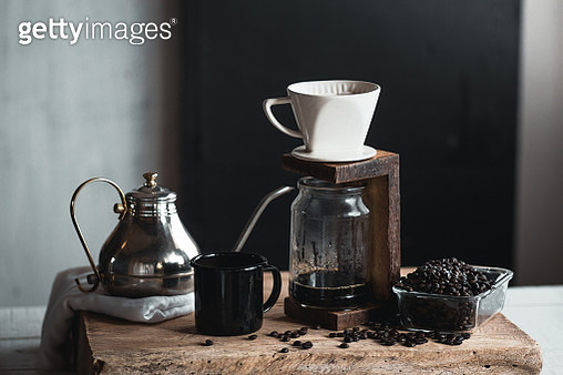 Close-Up Of Coffee Maker On Table Against Wall - gettyimageskorea