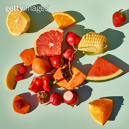 Different fruits arranged by color into squares - gettyimageskorea