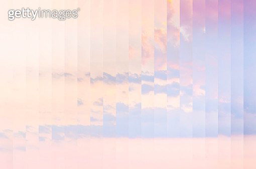 Mirror effect picture with rearranged strips of a beautiful sunset sky. - gettyimageskorea