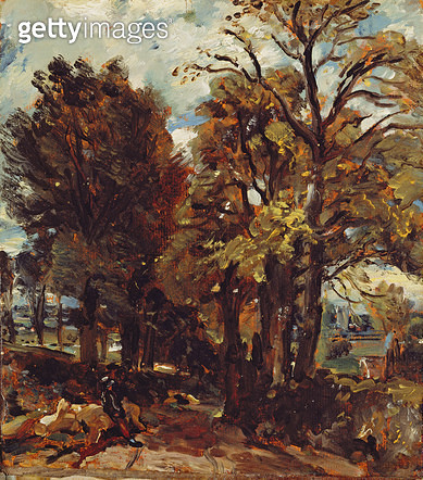 <b>Title</b> : Sketch of a Lane at East Bergholt, c.1810 (oil on paper laid on canvas)Additional Infovillage is birthplace of Constable;<br><b>Medium</b> : oil on paper laid on canvas<br><b>Location</b> : Yale Center for British Art, Paul Mellon Collectio - gettyimageskorea