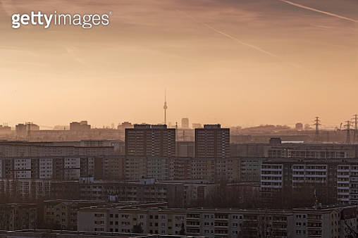 Residential district Berlin Marzahn with famous landmark TV-Tower in the background (Berlin, Germany) - gettyimageskorea