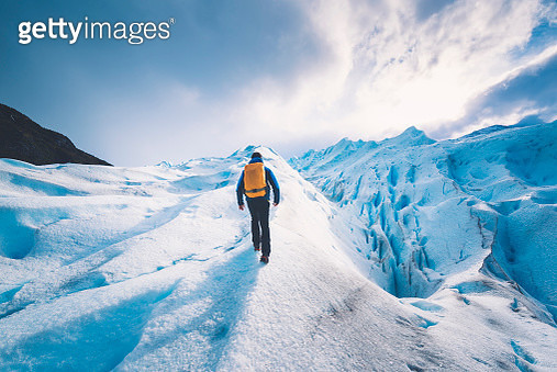 Tourist hiking on the Perito Moreno glacier - gettyimageskorea