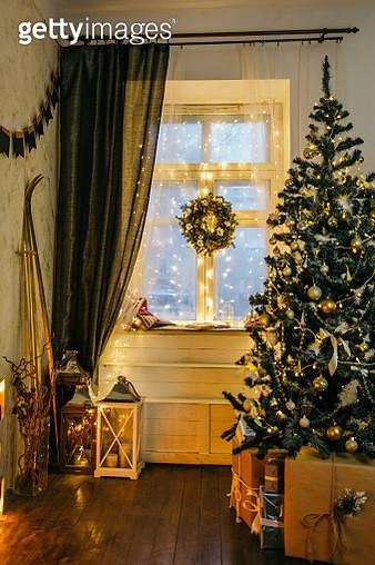 Christmas Tree At Illuminated Home - gettyimageskorea