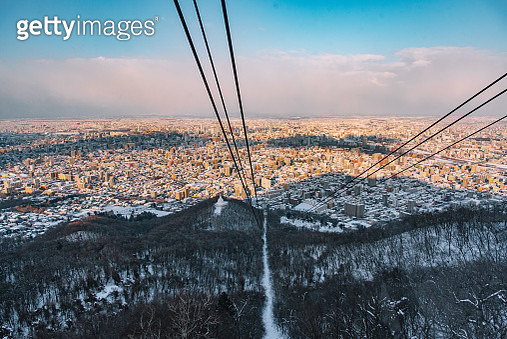 Sapporo city view from the top of Mt.Moiwa , japan. - gettyimageskorea
