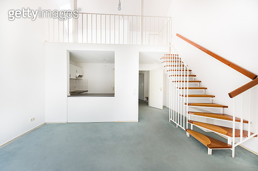 HDR shot of an empty room with stairway - gettyimageskorea