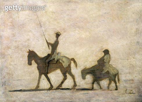 <b>Title</b> : Don Quixote and Sancho Panza (oil)<br><b>Medium</b> : <br><b>Location</b> : Private Collection<br> - gettyimageskorea