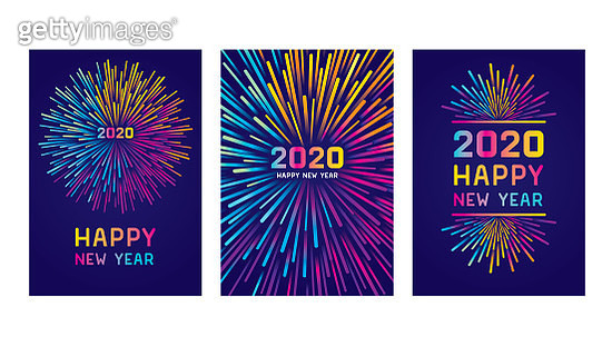 Modern New year colorful fireworks. Editable set of vector illustrations on layers.  This is an AI EPS 10 file format, with transparencies and one clipping mask. - gettyimageskorea