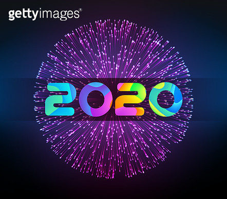 Vector 2020 New Year illustration with firework. - gettyimageskorea