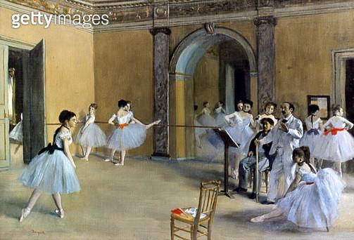 DEGAS: OPERA FOYER, 1872. /nEdgar Degas: Le foyer de la Danse a l'Opera de la Rue le Peletier. Oil on canvas, 1872. - gettyimageskorea
