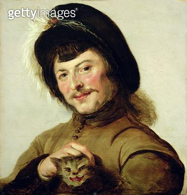 <b>Title</b> : A Young Man with a Cat, 1635 (oil on panel)Additional InfoJunger Mann mit Katze; formerly attributed to Judith Leyster (1609-166<br><b>Medium</b> : oil on panel<br><b>Location</b> : Gemaeldegalerie Alte Meister, Kassel, Germany<br> - gettyimageskorea