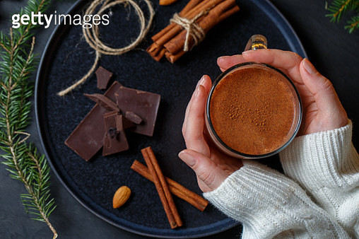 Bright ceramic cup filled with hot chocolate - gettyimageskorea