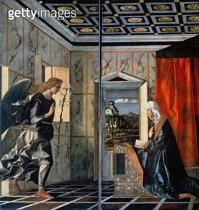 <b>Title</b> : The Annunciation (oil on canvas) (pre-restoration)<br><b>Medium</b> : oil on canvas<br><b>Location</b> : Galleria dell' Accademia, Venice, Italy<br> - gettyimageskorea