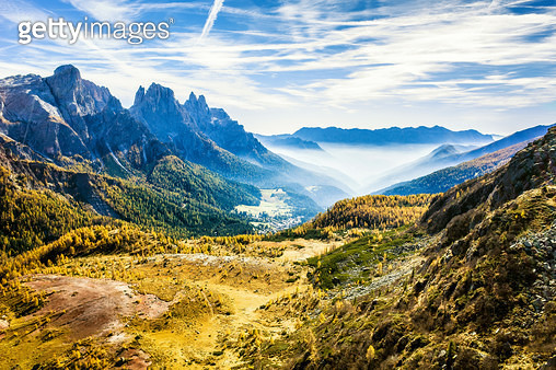 Golden autumn in Paneveggio - Pale di San Martino Natural Park, Dolomite Alps, Italy - gettyimageskorea