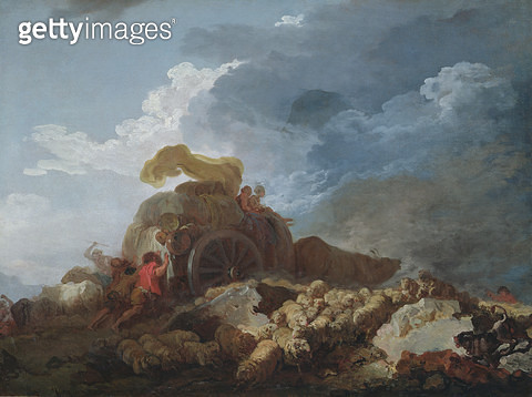 <b>Title</b> : The Storm, c.1759 (oil on canvas)Additional Infol'Orage dit aussi La Charrette Embourbee; cart stuck in the mud;<br><b>Medium</b> : oil on canvas<br><b>Location</b> : Louvre, Paris, France<br> - gettyimageskorea