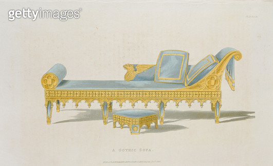 Sofa for a drawing room in the gothic style (pl. 155) from Ackermann's Repository of Arts/ Literature/ Commerce/ Manufactures/ Fashion and Politics/ published from 1809-28 - gettyimageskorea