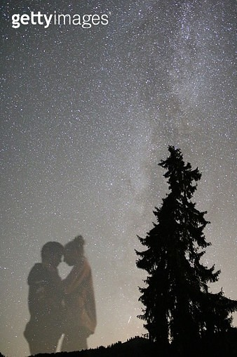 Romantic Couple And Tree Against Star Field Reflecting On Calm Lake At Night - gettyimageskorea