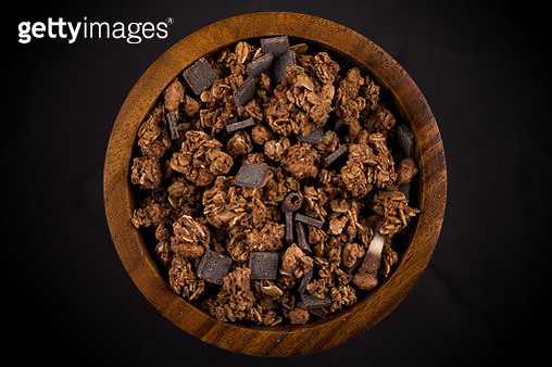 Macro close up of chocolate muesli with pieces of chocolate - gettyimageskorea