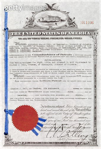AVIATION PATENT, 1911. /nPatent granted to Charles Bell for an improvement on flying machines using ailerons, 5 December 1911. - gettyimageskorea