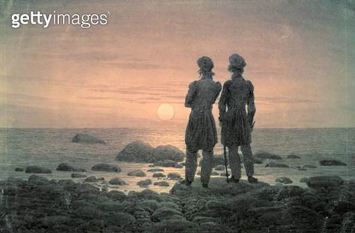 <b>Title</b> : Two Men by The Sea<br><b>Medium</b> : <br><b>Location</b> : Pushkin Museum, Moscow, Russia<br> - gettyimageskorea