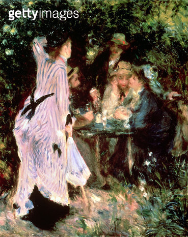 <b>Title</b> : In the Garden, or Under the Trees of the Moulin de la Galette, 1875 (oil on canvas)<br><b>Medium</b> : oil on canvas<br><b>Location</b> : Pushkin Museum, Moscow, Russia<br> - gettyimageskorea
