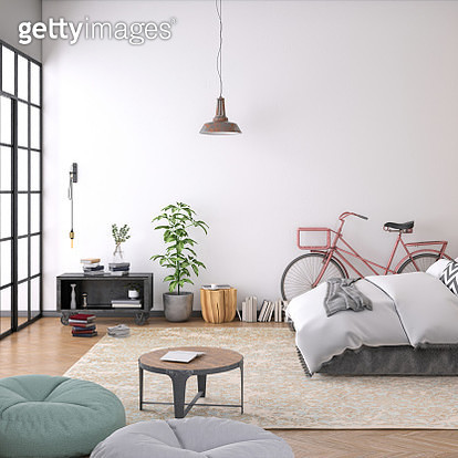 Modern bedroom interior with blank wall for copy space - gettyimageskorea