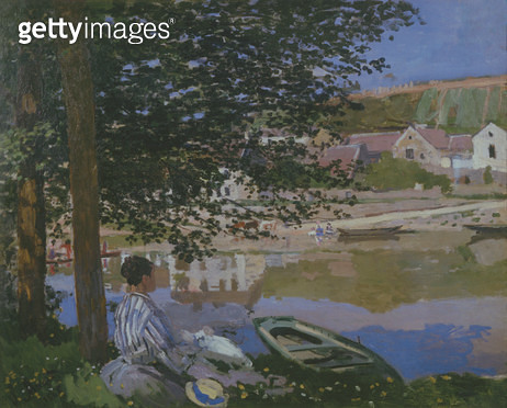 On the Bank of the Seine/ Bennecourt/ 1868 (oil on canvas) - gettyimageskorea