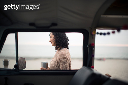 Young Asian woman on a road trip - gettyimageskorea