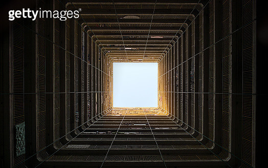 Hong Kong. Looking up from the patio of a public apartment building. - gettyimageskorea