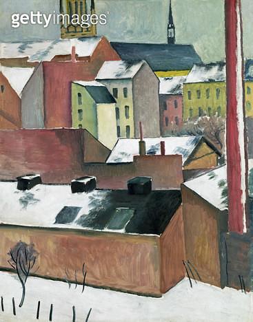 <b>Title</b> : The Church of St Mary in Bonn in Snow, 1911 (oil on paper)<br><b>Medium</b> : oil on paper<br><b>Location</b> : Hamburger Kunsthalle, Hamburg, Germany<br> - gettyimageskorea