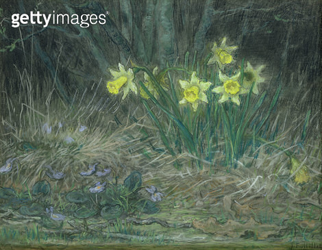 <b>Title</b> : Narcissi and Violets, c.1867 (pastel on paper)<br><b>Medium</b> : pastel on paper<br><b>Location</b> : Hamburger Kunsthalle, Hamburg, Germany<br> - gettyimageskorea